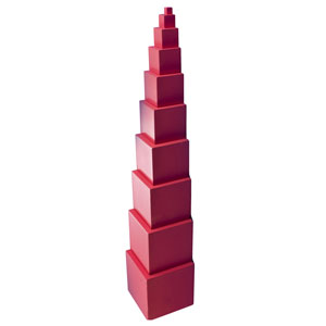 Use all the cubes to build the pink tower